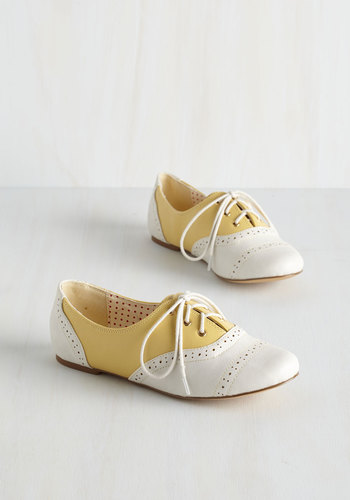 Skipping Through the City Flat in Lemon by Bait Footwear - Flat, Faux Leather, Yellow, Tan / Cream, Solid, Daytime Party, Menswear Inspired, Vintage Inspired, 20s, 30s, Colorblocking, Good, Lace Up, Variation, Pastel