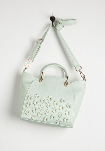 Let's Posy Along Bag - Mint, Gold, Solid, Flower, Scallops, Studs, Spring, Summer, Faux Leather, Pastel, 60s, Daytime Party, Party, As You Wish Sale, Top Rated