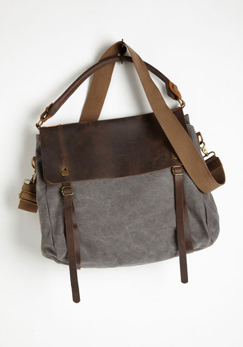 Truly Gritty and Gorgeous Bag - Brown, Grey, Buckles, Buttons, Pockets, Casual, Press Placement, Cotton, Leather, Best Seller, Travel, Urban, Work, Maternity, Guys, Fall