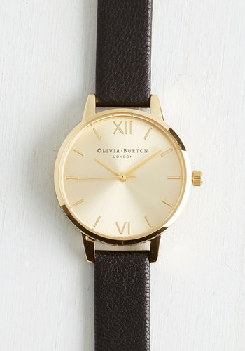 Undisputed Class Watch in Gold/Black - Petite by Olivia Burton - Leather, Black, Solid, Casual, Luxe, Gold, International Designer, Black, Travel, Top Rated