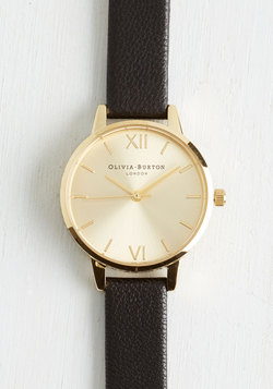 Undisputed Class Watch in Black & Gold - Midi