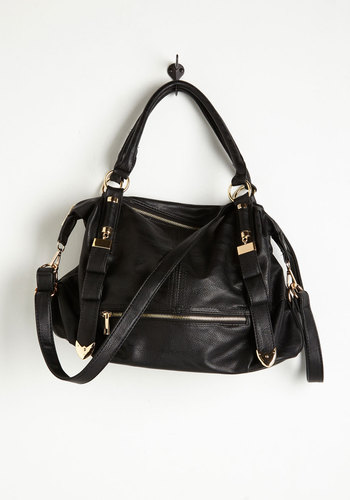 Every Day, Everywhere Bag in Black - Black, Gold, Solid, Buckles, Exposed zipper, Faux Leather, Casual, Basic, Work, Fall, Top Rated