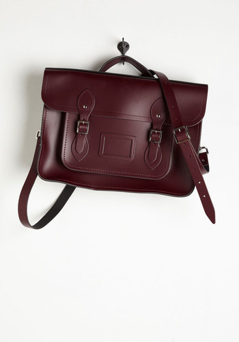 Cambridge Satchel Company Bag in Oxblood - 15 inch by The Cambridge Satchel Company  - Red, Solid, Buckles, Pockets, Casual, Vintage Inspired, Scholastic/Collegiate, International Designer, Graduation, Leather, Fall, Urban, Work, Top Rated, Winter, Gals