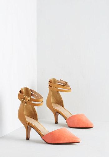 Prancy Footwork Heel in Coral and Tan