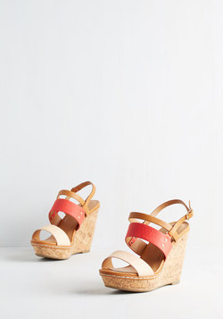 Keep Up the Good Cork Wedge in Coral