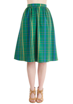 A Swish in Time Skirt in Emerald