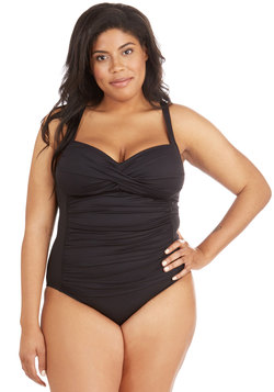 Summer in the Sizzle One-Piece Swimsuit in Noir - Plus Size