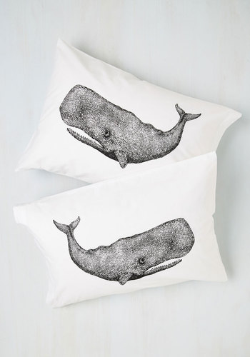 Worth Your Whale Pillowcase Set - Cotton, White, Black, Nautical, Dorm Decor, Quirky, Better, Print with Animals, Good, Critters, Spring