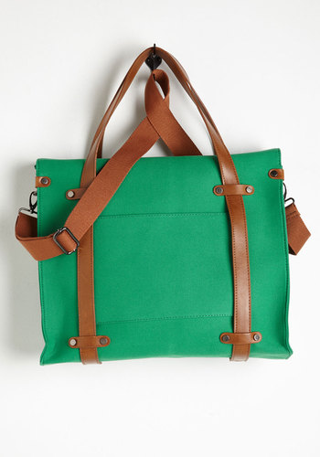 Camp Director Tote in Grass - Green, Tan / Cream, Solid, Casual, Variation, Faux Leather, Woven, Travel, Scholastic/Collegiate, Fall, Exclusives, Work, Spring, Best Seller, Graduation, Gals
