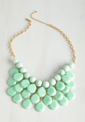 At the Last Minute Necklace in Mint - Mint, Solid, Tiered, Special Occasion, Statement, Gold, Green, Spring, Casual, Work, Gals, Summer