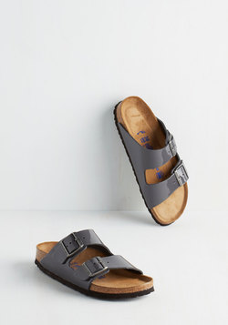 Strappy Camper Sandal in Patent Grey