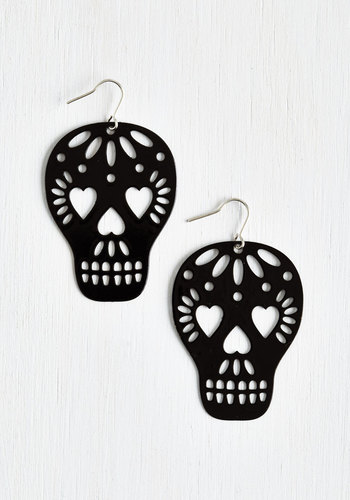 Too Close to Skull Earrings - Black, Solid, Cutout, Statement, Urban, Quirky, Halloween, Valentine's, Silver, Skulls, Top Rated