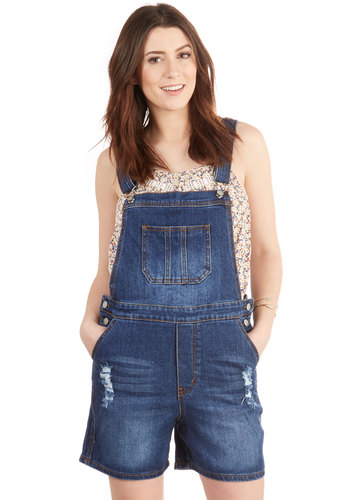 Useful and Unique Overalls - Overalls, Good, Blue, Denim, Cotton, Denim, Woven, Blue, Solid, Pockets, Casual, Vintage Inspired, 90s, Summer, 80s, Spring, Dark Wash, Short, High Rise, Long
