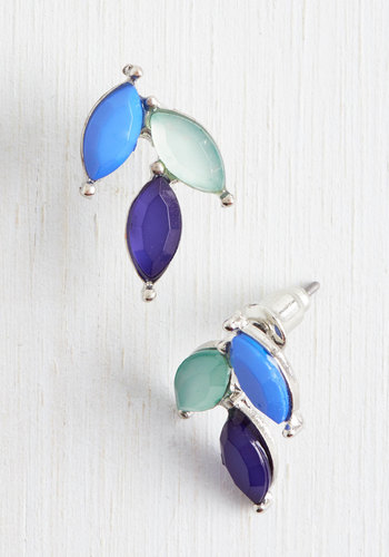 Dayspring's Glow Earrings in Cool Tones - Blue, Rhinestones, Exclusives, Statement, Urban, Silver, Spring, Top Rated