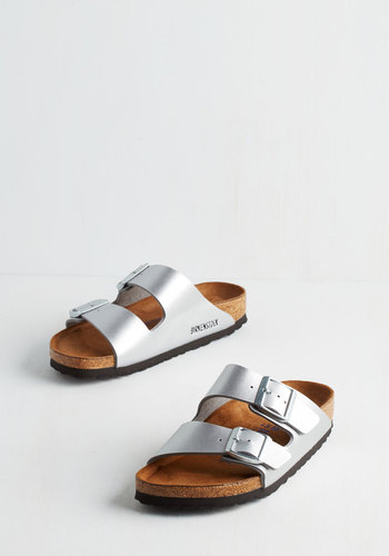 Strappy Camper Sandal in Silver by Birkenstock - Silver, Solid, Buckles, Casual, Festival, Best, Strappy, Summer, Variation