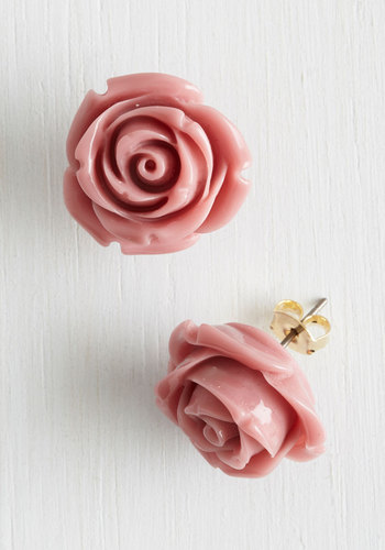 Retro Rosie Earrings in Dusty Rose - Pink, Solid, Flower, Party, Casual, Vintage Inspired, Fairytale, Pastel, Daytime Party, Variation, Graduation, 60s, Valentine's, Spring, Silver, Summer, Best Seller, Best Seller