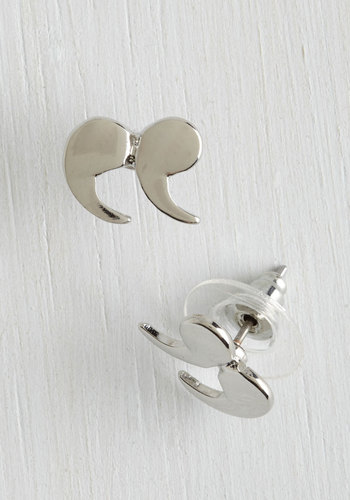 Quote Couture Earrings in Silver - Quirky, Scholastic/Collegiate, Silver, Best Seller, Top Rated