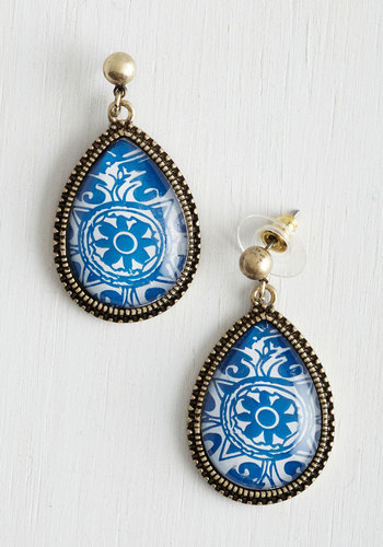 Delft of Possibilities Earrings - Blue, Gold, Print, White, Party, Gold