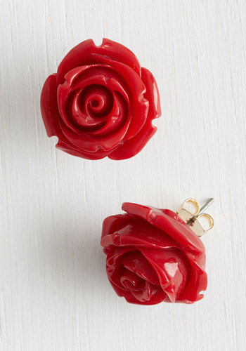 Retro Rosie Earrings in Red - Red, Solid, Flower, Good, Variation, Gold, Under $20, Valentine's, Daytime Party, Spring, As You Wish Sale