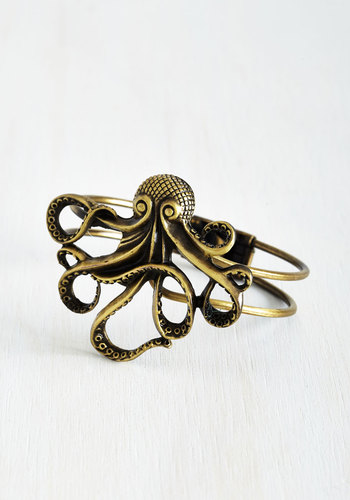 My Pet Octopus Bracelet - Silver, Gold, Casual, Statement, Nautical, Best Seller, Variation, Summer, Print with Animals, Silver, Social Placements, Quirky, Critters, Top Rated