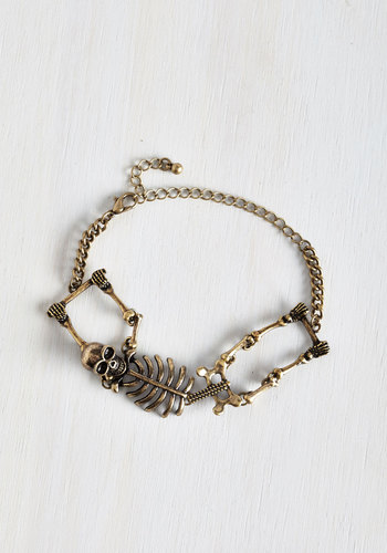 Carpal Diem Bracelet in Gold - Gold, Solid, Urban, Quirky, Gold, Halloween, Top Rated