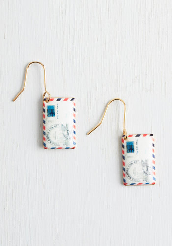 Postage Do Earrings - White, Multi, Novelty Print, Gold, Quirky, Top Rated