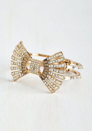 Go for Deco Bracelet - White, Solid, Bows, Rhinestones, Wedding, Gold, Better, Exclusives, Vintage Inspired, 20s, 30s, Special Occasion, Bride