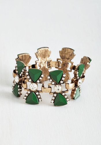Bows for Photos Bracelet - Green, White, Solid, Statement, Gold, Rhinestones, Special Occasion, Press Placement