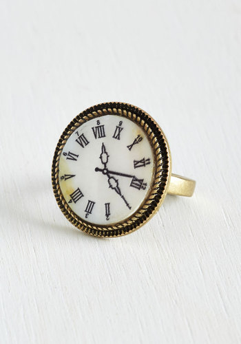 Roman Around Ring - White, Black, Solid, Casual, Gold