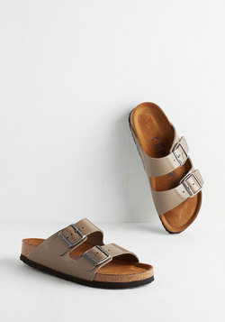 Strappy Camper Sandal in Patent Taupe