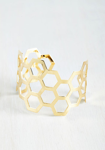 Sweet Like Honeycomb Bracelet - Solid, Girls Night Out, Statement, Urban, Gold, Daytime Party, Spring, Boho, Festival