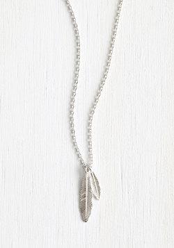 Nice Feather We're Having Necklace in Silver