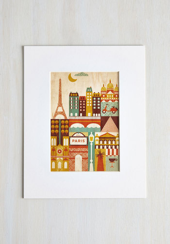I Wood Leave Tomorrow Print in Paris - Multi, Dorm Decor, Eco-Friendly, Travel, Good, 60s, Mid-Century, Social Placements, Pastel