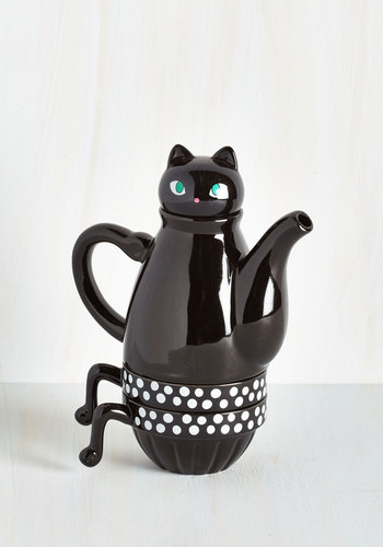 Paw Me a Cup Tea Set in Cat - Black, Daytime Party, Print with Animals, Cats, Better, Halloween, Press Placement, Hostess, Critters, Store 2, Store 1