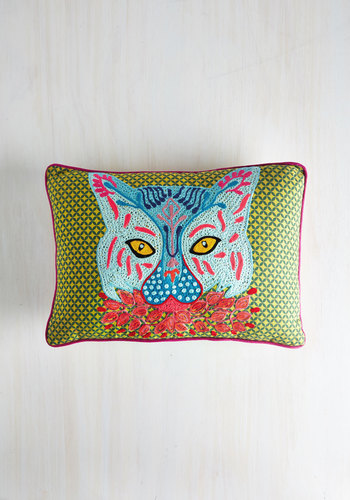 Coying with the Idea Pillow by Karma Living - Multi, Boho, Neon, Cats, Better, Print with Animals, Embroidery
