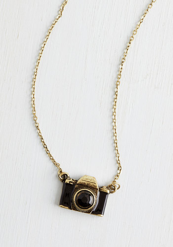 What Are You Waiting Photo Necklace - Casual, Black, Gold, Chain, Rhinestones, Gold, Best Seller, Under $20, Quirky, Top Rated
