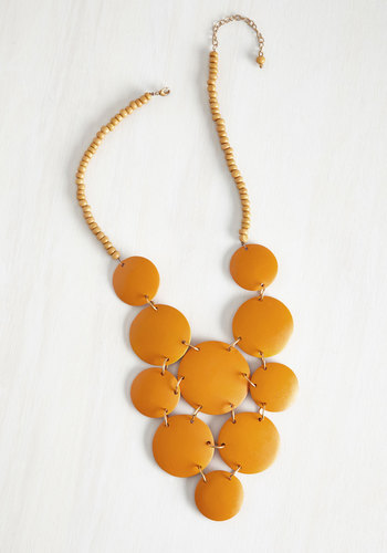Strewn with Sunlight Necklace by Mata Traders - Yellow, Solid, Tiered, Statement, Beads, Eco-Friendly, Boho, Spring, Beach/Resort, Festival, 60s, Work, Fall, Nautical