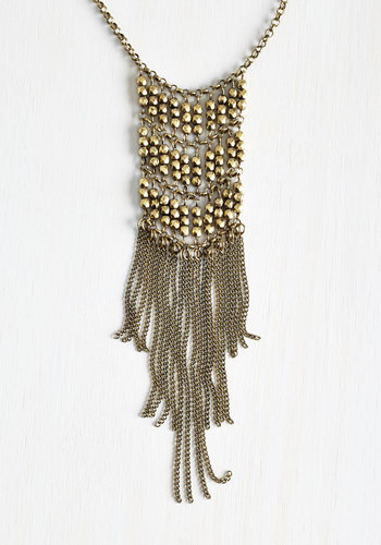 Captivating Cascade Necklace in Brass - Solid, Beads, Fringed, Tiered, Vintage Inspired, 20s, Gold, Good, Festival, Boho, Statement, Fall