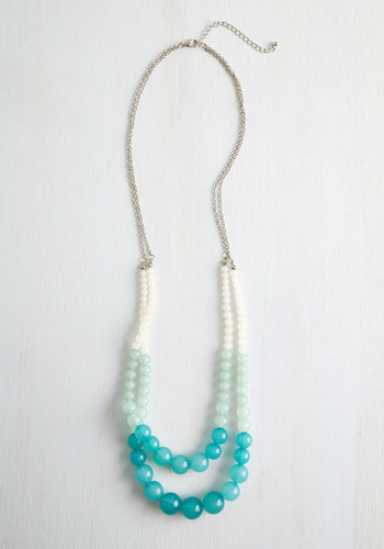 Bead All That You Can Be Necklace - Mint, Multi, Ombre, Casual, Beach/Resort, Boho, Darling, Spring, Summer