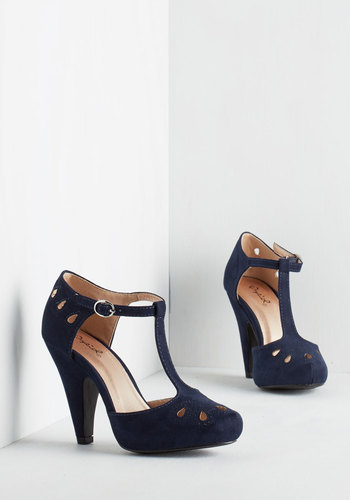 Dynamic Debut Heel in Navy - Blue, Solid, Cutout, Daytime Party, Good, High, Party, Work, Vintage Inspired, 20s, 30s, Faux Leather, Variation, T-Strap, Best Seller, Scholastic/Collegiate, Special Occasion, 4th of July Sale, Top Rated