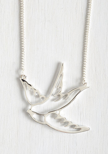 Swooping Swallow Necklace - Variation, Silver, Print with Animals, Silver, Critters, Top Rated