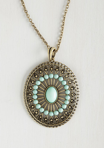 Eye of Elegance Necklace - Green, Party, Work, Casual, Boho, Spring, Summer, Social Placements, Gold, Under $20, Top Rated