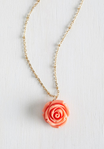 Retro Rosie Necklace - Solid, Flower, Pink, Work, Pastel, Daytime Party, Variation, Graduation, 60s, Party, Valentine's, Spring, Wedding, Bridesmaid, Bride, Gold, Gals, Top Rated