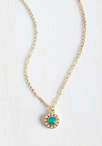 Delicate Drop Necklace in Mint - Blue, Solid, Rhinestones, Gold, Good, Wedding, Gold, Social Placements, Bridesmaid, Bride, Gals, Under $20, Daytime Party, Spring, Pastel, Mint, Top Rated, Gifts2015