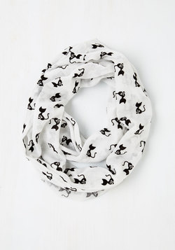 Cat Person Circle Scarf in White