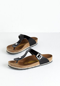 Garden Consultation Sandal in Black Gloss