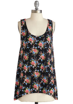 Custard Stand in Awe Top in Black Floral