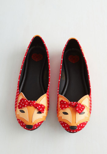 Clever So Sweet Flat in Red by T.U.K. - Red, Multi, Polka Dots, Print with Animals, Bows, Kawaii, Flat, Exclusives, Summer, Quirky, Best Seller, Critters, Woodland Creature, Top Rated