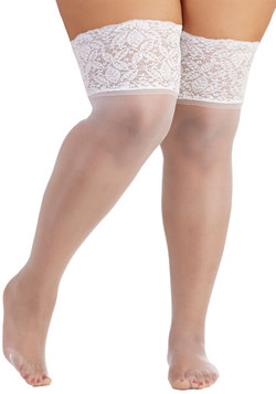 Stay in Lace Thigh Highs in White - Plus Size