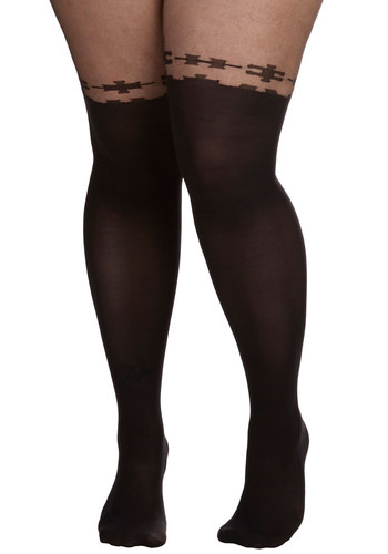 Piece is the Word Tights in Plus Size - Sheer, Knit, Black, Solid, Boudoir, Party